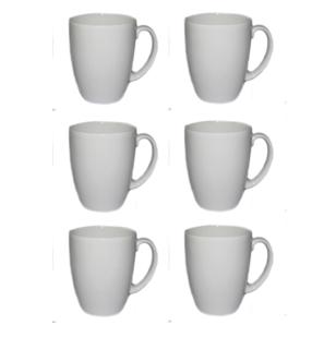 (Set of 6) Bone China White Coffee 9 Fl Oz Mugs