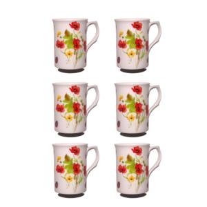 10Fl oz Bone China Poppies & Ladybird Mugs - Set of 6 Gift Boxed