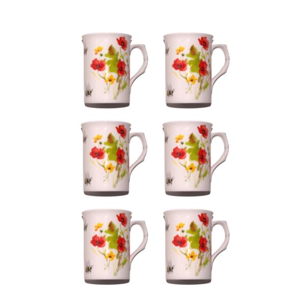 10Fl oz Bone China Poppies & Bees Mugs - Set of 6 Gift Boxed